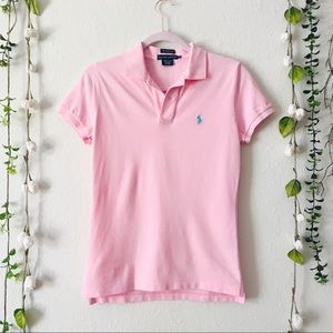 The Skinny Polo - Pink with Teal Logo